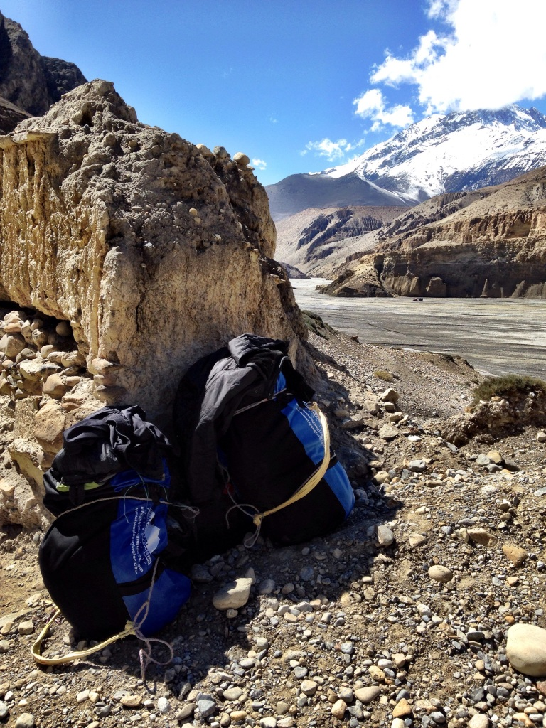 Our duffel bags carried by the porters