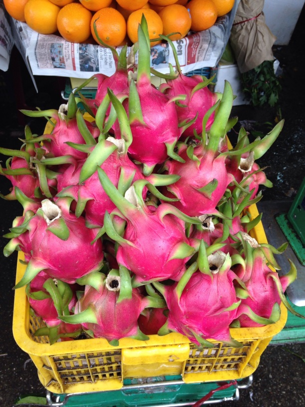 Dragon fruit, I love it. Someone said it tastes like a mix of a pear and a kiwi, yum!