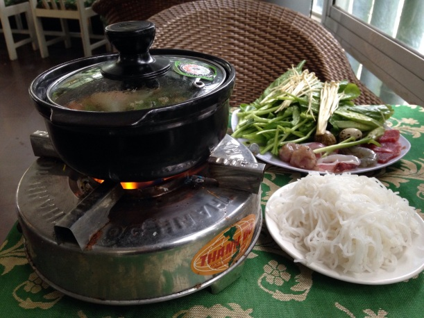 This is fun, it's called a hot pot. You cook your own food in it at your table.