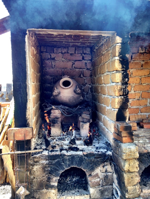 The outdoor kiln, this is a new addition and is more efficient and better for the environment. Before the new kiln, pottery was set in an open fire. Two large jaguars would use a truck load of firewood. With the new kiln, this amount of firewood will produce 12 jaguars