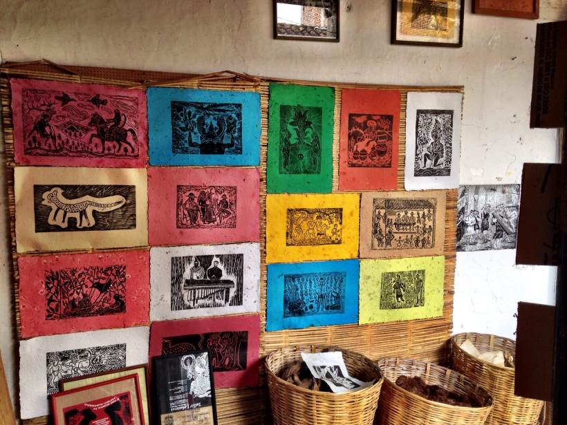 Recycled paper with wood block printing