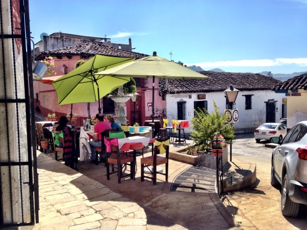 My neighborhood. I absolutely loved this town, San Cristobal de las Casas. Cafes, music, bakeries and great restaurants are right around the corner.